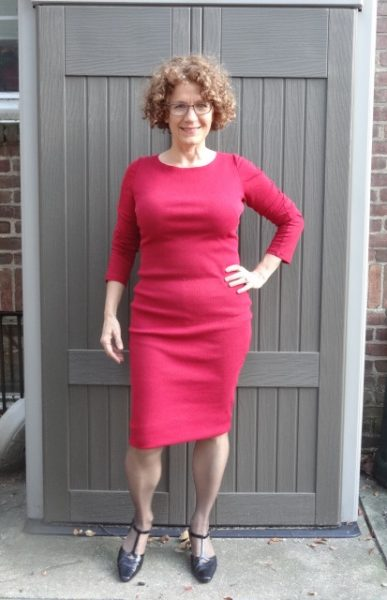 red-dress-fake-hem-standing