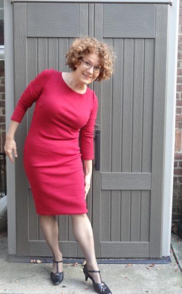 red-dress-folding-fake-hem