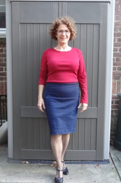 red-dress-under-denim-pencil-skirt-shortened