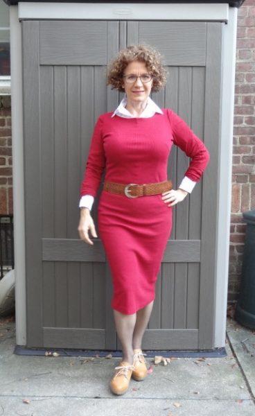 red-dress-white-shirt-belt