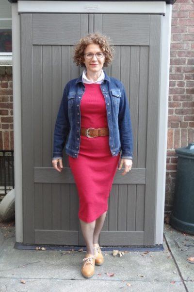 red-dress-white-shirt-denim