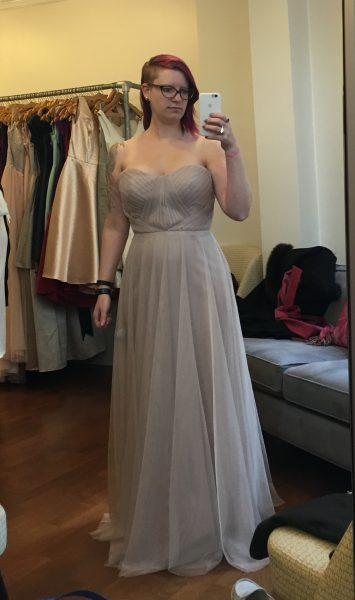 The top of this tulle dress has some nice detail, but the skirt portion seemed boring by comparison. Plus the bustier was waaaaaay short. My actual waist is several inches lower than the seam.
