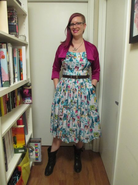 """Here's how I styled it on a cool day—Trashy Diva """"Bonnie"""" bolero in magenta stretch satin (purchased on eBay for only $18!), belt, and a pair of low boots."""