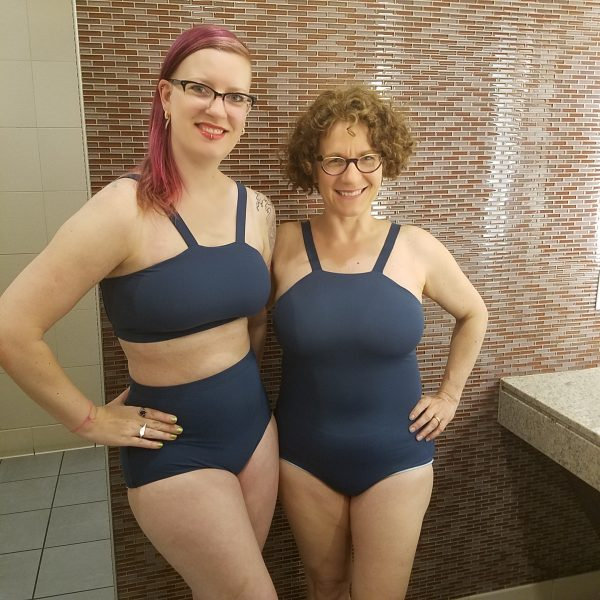 Me in the Aphrodite bikini and Darlene in the Aphrodite one-piece.