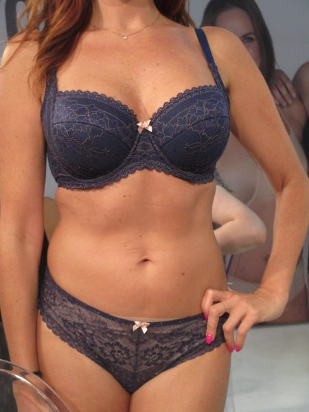 Petra (formerly of Panache Black) on a model, who told us the embroidery was so smooth that she wears it as a tee-shirt bra.
