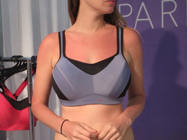 Parfait is introducing its first sports bra, which they recommend for medium-impact sports. It features breathable mesh inserts, underwire for breast separation, and detachable straps in back so you can wear leotard or cross-back.